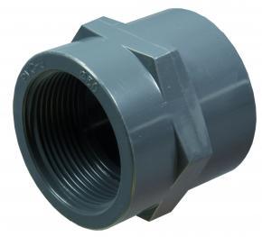 "PVC-U  Gewindemuffe PN10 (Klebemuffe x Innengewinde) 50 x 1 1/2"""