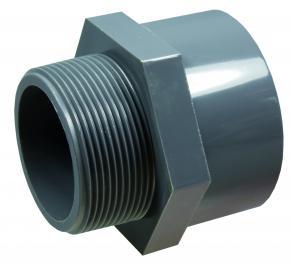 "PVC-U  Übergangsmuffe PN10 (Klebemuffe x Außengewinde) 50 x 1 1/2"""