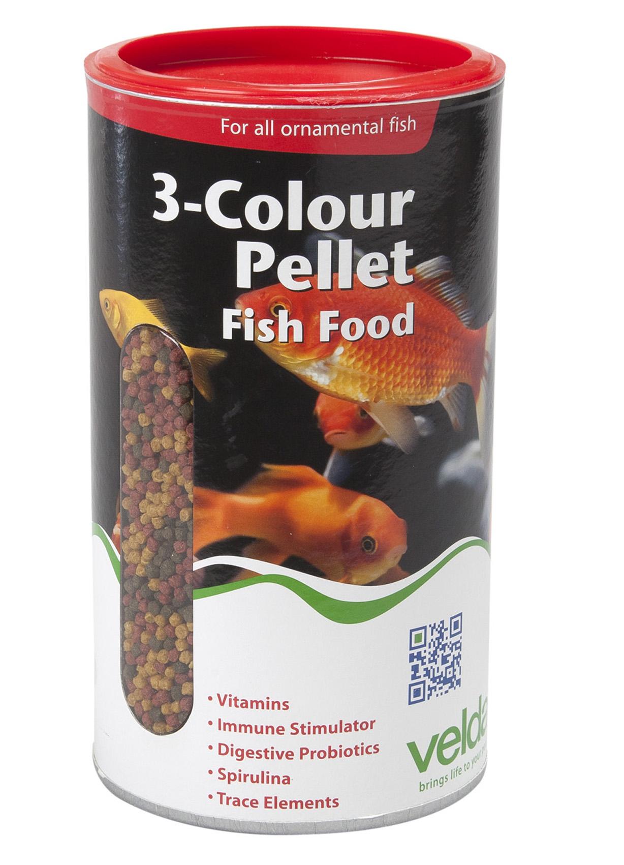 Velda 3 colour pellet food 880 g 2500 ml teichundgarten24 for Goldorfen futter